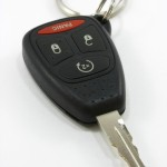 Black vehicle key, with remote ignition starter portrait